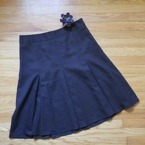 LOFT A-line Pleated Skirt Chocolate Brown Size 12